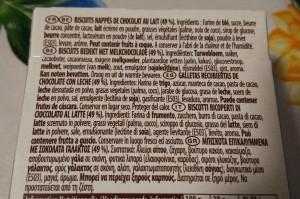Esempio di etichetta di un prodotto alimentare